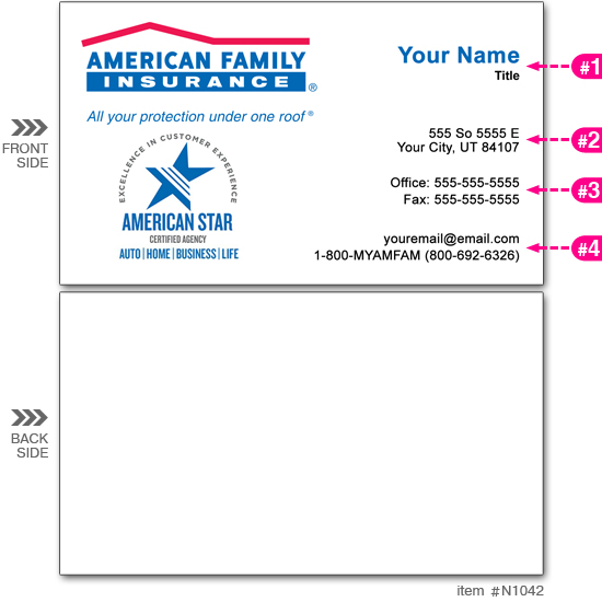 Am. Fam. Ins. Business Cards #N1042