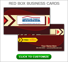 American Family Insurance Red Box Business Card #N1034