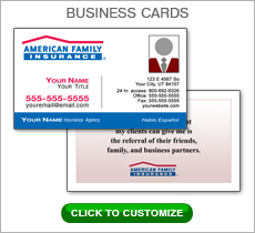 American Family Insurance Red Box Business Card #N1037