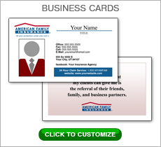 American Family Insurance Red Box Business Card #N1041
