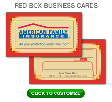 American Family Insurance Red Box Business Card #N1044