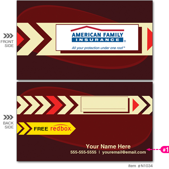 Am. Fam. Ins. Red Box Business Cards #N1034