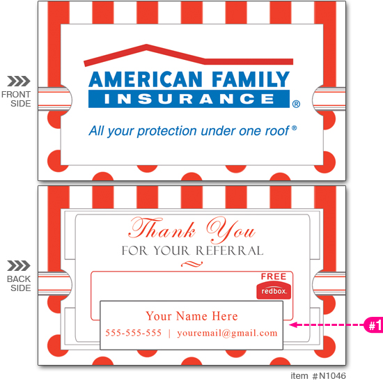 Am. Fam. Ins. Red Box Business Cards #N1046